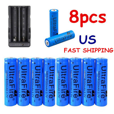 8pcs Ultrafire 18650 Battery 3.7v Li-ion Rechargeable Batteries Charger Torch