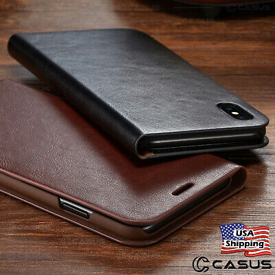 Genuine Leather Wallet Card Flip Cover Case for iPhone XS MAX XR 8/7/6s Plus