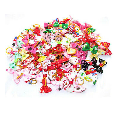 100PCS Various Hair Bows For Small Dog Cat Pet Grooming Hair Accessories Beauty
