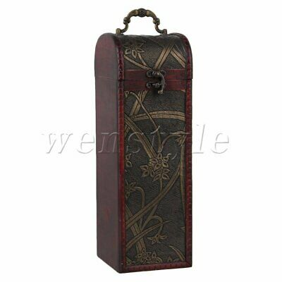 Vintage Wooden Wine Box Bottle Case Wedding Groomsman Bridesmaid Birthday Gift
