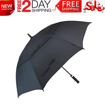 Double Canopy Windproof Golf Umbrella 62 inch Automatic Open Extra Large UV New