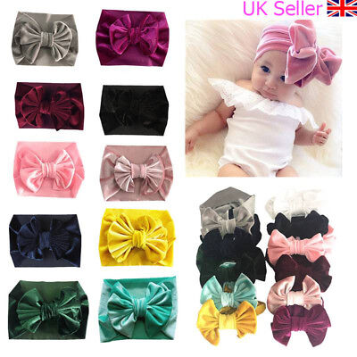 Baby Toddler Girls Kids Velvet Bow Hairband Headband Elastic Turban Headwrap UK