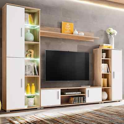 vidaXL TV Wall Unit with LED Lights Sonoma Oak and White Entertainment Centre