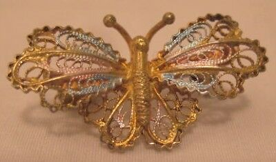 Beautiful Old 800 Coin Silver Filigree Butterfly Pin w Gold Wash
