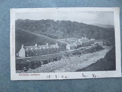 Old Postcard=Berriedale Caithness=1904=Cottages By River=George+Son Wick