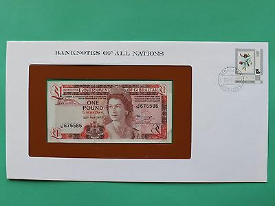 1975 Gibraltar One Pound £1 Uncirculated Franklin Mint Banknote Cover SNo46128