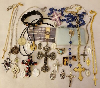 Vintage Antique Jewelry Lot Religious Pin Pendants Cross Rosary Medals