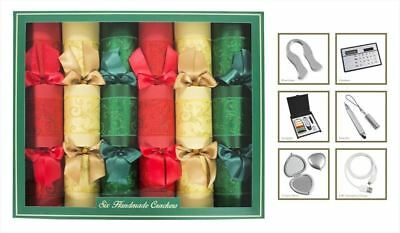 Box of 6 Christmas Crackers Glitter Classic Colours Luxury Handmade Xmas Festive