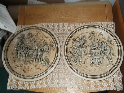 Two Antique German Plates - Hanging - Clay Ceramic - Stamped Germany