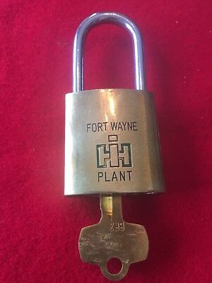 Vintage International Harvester Brass  PADLOCK W/ Key IH Fort Wayne Plant