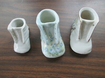 (3) Ceramic Baby Shoes - Pretty