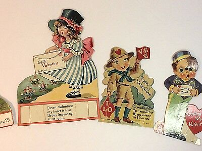 Vintage Motion Valentine Card Lot of 4