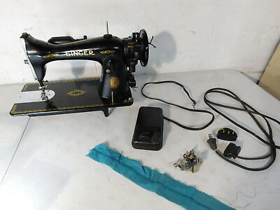 c1950 Vintage Singer Electric Sewing Machine Head 15-91? Quebec Canada JC797919