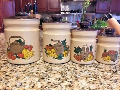 Vintage Set Of 4 Aluminum Nesting Canister Set