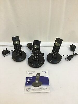 BT Graphite 2500 Triple Phone with Answering Machine. Set incl chargers & cables