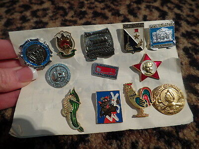 VINTAGE Russian Chinese Greek ? Rooster LOT OF Pins 12 Rare Red Star Collectible