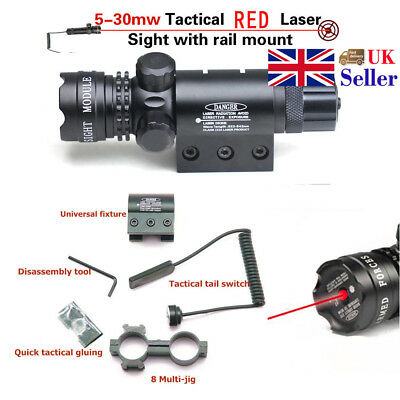 Hunting Tactical Mil Dot Red Laser Sight For 20mm Rail Quick Mount Adjustment