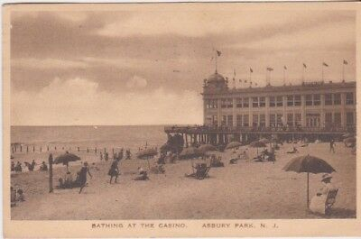 Early 1900's Beach Scene-Bathing At The Casino-ASBURY PARK, New Jersey