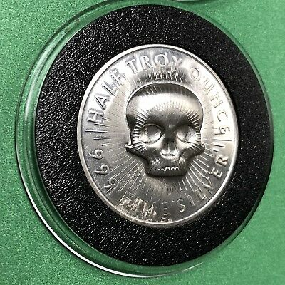 Sunshine Minting Skull 1/2 Troy Oz .999 Fine Silver Collectible Round Coin 999