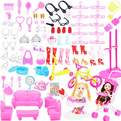 108pcs Jewelry Necklace Earring Comb Shoes Crown Accessories for Dolls