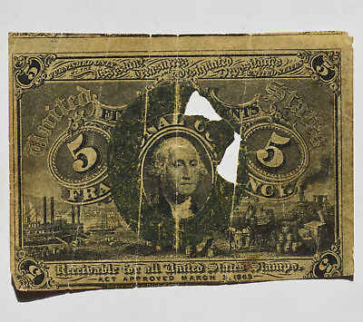5C Second Issue Fractional Currency Five Cents George Washington Circulated