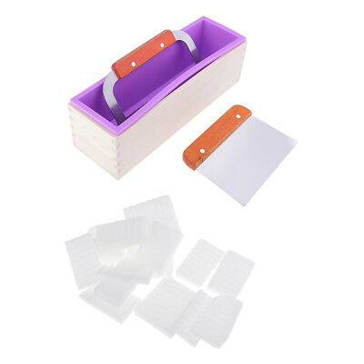 Silicone Soap Mold Loaf with Wooden Box + 2pcs Soap Cutters + 500g Soap Base