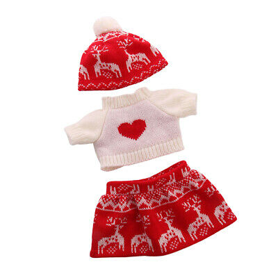 Doll Winter Clothes Sweater & Knitted Miniskirt Beanie Hat For American Girl