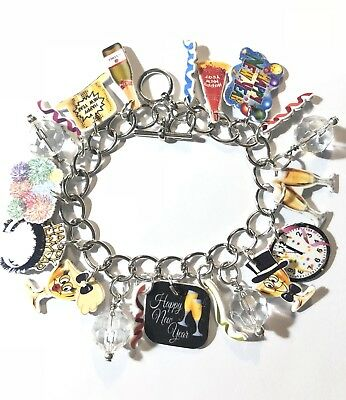Happy New Years Bracelet Clock Champagne Glassware More Charms Adult Size