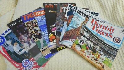 Vintage Detroit Tigers yearbooks lot of 8 -- 1968, 1971-74, 1976, 1986-87