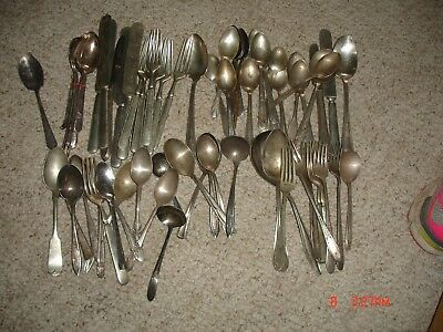 Vintage Lot 78 Silver Plate Flatware For Crafts Spoons Forks Knives