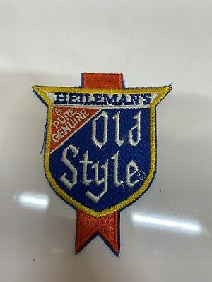"SMALL VINTAGE HEILEMAN'S GENUINE OLD STYLE BEER PATCH  NEW OLD STOCK 4""x 2"""