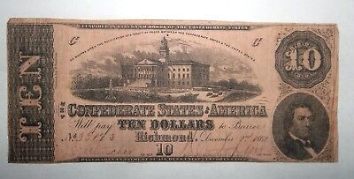 1862 Confederate States $10 Dollars note