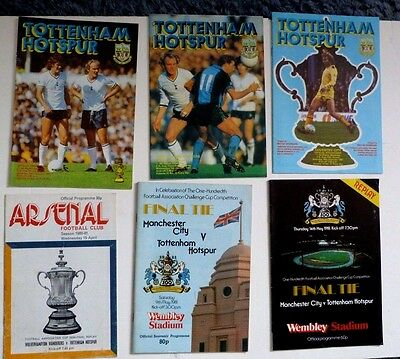 6 X Spurs Fa Cup Programmes 1980/81,inc Final And Semi Final