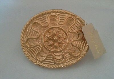 "Vintage Dotty Smith Belt Buckle Gold Tone Scallop Floral Design Oval 2.5"" Across"