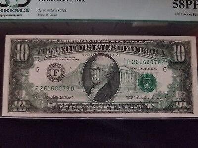1995 $10 Federal Reserve Note ERROR  FULL BACK TO FACE OFFSET PCGS58PPQ