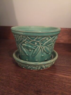 McCoy Pottery Hobnail Leaves Planter Flower Pot w/Attached Saucer Green Art Deco