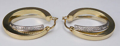 Vintage 14k Gold & White Gold & Diamond Chip Accent Latching Hook Hoop Earrings