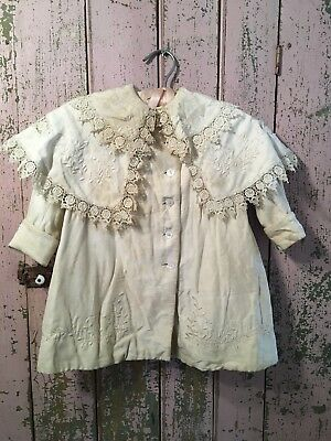Antique Victorian Childs Coat Off White French Lace Trim Needlework #M
