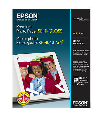 Epson Premium 8.5x11 Semi-gloss Photo Paper - 20 Sheets
