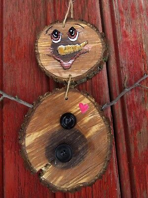 """Handcrafted Wooden Happy Winter Snowman 9 &1/2"""" Tall"""