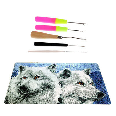 Latch Hook Rug Kits DIY Wolf Pattern Cushion Carpet Making Package 50x30cm