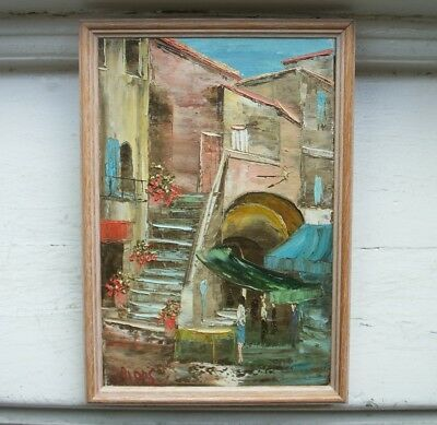 Old Vintage Oil Painting on Canvas St Tropez 'le marche de poisson' by Cripps