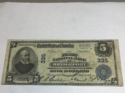 Bridgeport Connecticut , first national bank , $5 , 1902 PB , fine
