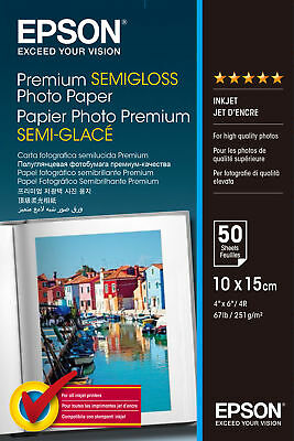 Epson Premium 4x6 Semi-gloss Photo Paper - 50 sheets