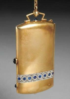 C. Early 20Th C. Ladies 14K Gold Dance Compact With Diamonds And Sapphires