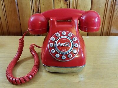 Coca-Cola Red Telephone Push Button Collectible Very Nice