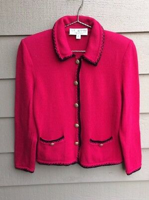 ST JOHN Size 2 By Marie Gray HOLIDAY Red Black SANTANA KNIT JACKET BLAZER