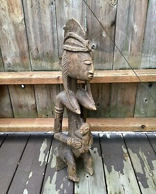 Antique African Art Dogon Tribe Fertility Goddess, Mother, Child Sculpure Carved