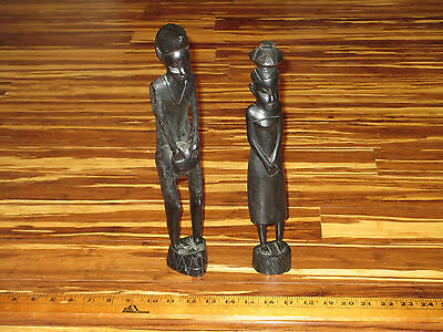 Vintage African Wood Statues 2 Hand Carved Folk Art Dark Wood Tribal Figures