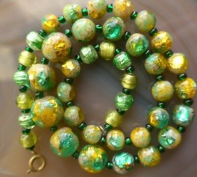 Vintage Venetian Bi Colour Green Foil Glass Bead Necklace  Art Deco Glass Beads